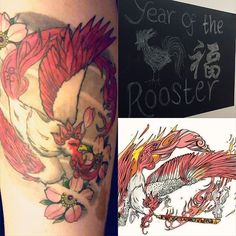 【annie.reason】さんのInstagramをピンしています。 《Happy Chinese New Year!🎊🎎 I was born under the year of the Rooster 🐓 and thought I'd share one of my tattoos; inspired from a character in one of my favourite games Okami and done by the super talented @stewetattoo 🎆 . . . . . #happychinesenewyear #chinesenewyear #yearoftherooster #tattoo #tattoos #thightattoo #japanesetattoo #roostertattoo #phoenixtattoo #cherryblossoms #cherryblossomtattoo #okami #okamitattoo #moegami #moegamitattoo》