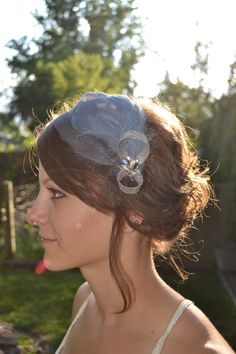 Country blue and grey goose feather fascinator by ClavauxDesigns