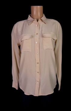 EQUIPMENT FEMME 100% Silk Blouse M Nude Long Sleeve Button Front Shirt Q23-E231 #EQUIPMENTFemme #Blouse #Business