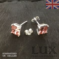 925 Sterling Silver Pair Of 6mm Square Pink Cz Earstuds With Erfly Uk Er