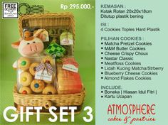 Idul Fitri Cookies Gift Set 3 | Price : 295 K nett | Content : 4 Cookies in Hardcase Plastic | Packaging: Rattan Box | Incl: Doll, Decoration & Greeting Card | Free Delivery for BDG area