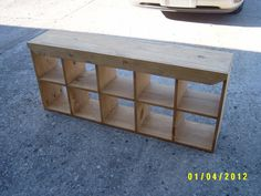 bench cubbie bench reycled material by wayneswoodworking on Etsy, $170.00