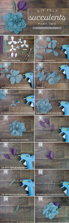 Sewing Fabric Flowers DIY Felt Succulent Tutorial by Michaels Makers Lia Griffith - Make your own gorgeous vertical garden wall art with this simple felt succulent tutorial from handcrafted lifestyle expert Lia Griffith. Handmade Flowers, Diy Flowers, Fabric Flowers, Paper Flowers, Felt Diy, Felt Crafts, Fabric Crafts, Diy Fleur Papier, Felt Flower Tutorial