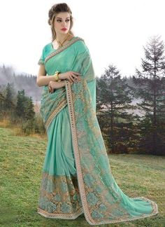 Sea Green  Knitted Georgette Indian Saree
