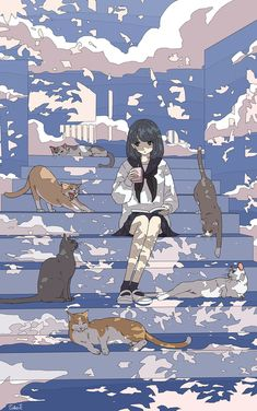 painting and drawing: 画像 Wallpaper Aesthetic, Aesthetic Art, Aesthetic Anime, Pretty Art, Cute Art, Bd Art, Anime Titles, Poses References, Anime Cat
