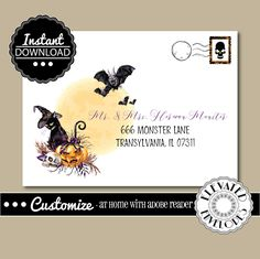 EDITABLE HALLOWEEN ENVELOPE Template,Envelope Addressing,Halloween,Cat…