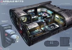 Future compact living? NeotechX//Cyberpunk, Neuromancer CAPSULE artwork by Marcel van Vuuren Design (http://marcelvanvuurendesign.blogspot.com/p/blog-page.html)                                                                                                                                                     More