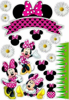 Minnie Mouse Cupcake Toppers, Minnie Mouse Birthday Decorations, Minnie Mouse Theme Party, Mickey Mouse Birthday, Mickey Minnie Mouse, Scrapbook Da Disney, Wallpaper Do Mickey Mouse, Minnie Mouse Drawing, Happy Birthday Blue