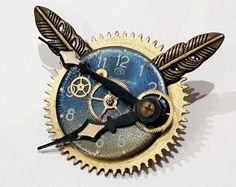 Steampunk Brooch Wings Of Time. Steampunk Jewelry. Watch Parts. Gears. Coat Pin.