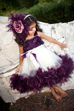 Purple Feather TuTu Dress / Lavender Tutu Dress With Flowers little girls pageant dresses Kid Toddler Communion Dress For Wedding Party