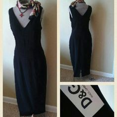 """Authentic Dolce & Gabbana LBD. CANT GO LOWER! Classic design with several front darts, two long back darts, a hidden back zipper, and a small 5.5"""" back slit. Unlined. Medium-weight finely textured 95% wool fabric with 5% """"Other Fibers."""" The fabric has a little bit of stretch, so I assume the other fiber is Spandex.  The certificate of authentity is still firmly attached, and the dress is in perfect condition.  These European sizes are tricky. Bust is 36"""", hips 40"""", and length 47"""".   Bundling…"""