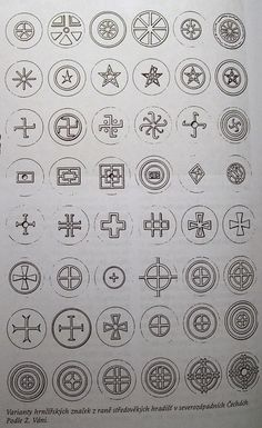 SLAVIC SYMBOLS._Old pagan signs taken from slavic pottery found on hillforts in Czech republic.