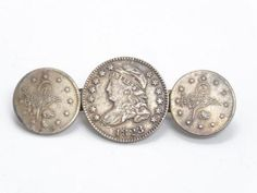 Antique 19c US 1823 Over 1822 Capped Bust Silver Dime Brooch With Turkish Coins in Jewelry & Watches, Vintage & Antique Jewelry, Fine, Victorian, Edwardian 1837-1910, Pins, Brooches | eBay