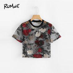 3fb28433f68 16.56 |Aliexpress.com: Comprar ROMWE Sheer malla Floral bordado Crop Top  señoras de manga corta Crop O Neck mujeres camisa verano blusa Sexy de  Blusas y ...