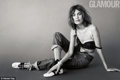 Fashion fan: Alexa Chung parades her style credentials on the front of the April 2016 issu...