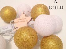 """⭐️ """"white&gold"""" Lichterkette 10 Baumwollbällchen"""