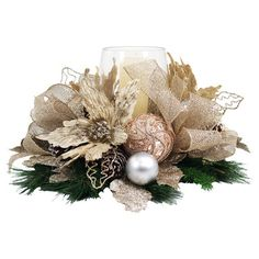 Faux pine candle wreath with silk poinsettias, glitter bow and ornament accents…. – Home Decor & DIY Christmas Flower Arrangements, Holiday Centerpieces, Christmas Table Decorations, Christmas Wreaths, Christmas Ornaments, Floral Arrangements, Christmas Time, Merry Christmas, Christmas Floral Designs