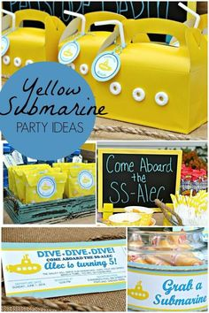 Boy's Yellow Submarine Birthday Party Ideas