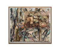 Untitled (Geschirr, afrikanische Büste auf Perserteppich)