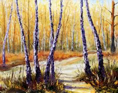 Download - Birch trees in a sunny forest. Palette knife artwork. Impressionism. Art. — Stock Image #72665105