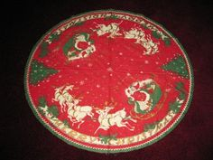 "Vintage Christmas Tree Skirt ~  Red Felt w/ Santa & Sleigh ~ ""Merry Christmas"", circa 1950's."