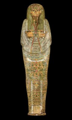 Sarcophagus (and Mummy) of Neshkons  Material: Painted Sycamore Fig Wood  Origin: Ancient Egypt (Third Intermediate Period, Dynasty XXI)  Dated: c. 900–940 BCE