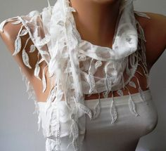 White Guipure  Laced Fabric  Scarf  with White Trim by SwedishShop, $17.90