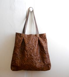 Oversized wrinkled leather tote brown by Smadars on Etsy