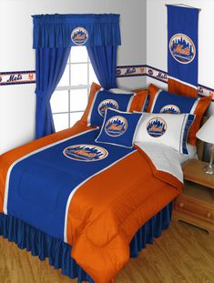 New York Mets Sidelines Room Comforter Queen #SportsCoverage #NewYorkMets
