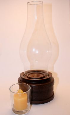 Glass And Wood Hurricane Lamp, Lathe Turned Walnut Stand Base, Candle Holder…