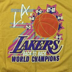 e66e4ac93 VTG Vintage 80s 1987 Los Angeles Lakers WORLD CHAMPIONS Back-to-Back t-