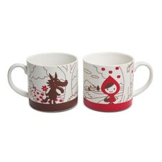 Little Red Riding Hood tea cups and tea pots! I require these things to survive. Red Riding Hood Wolf, Japanese Gifts, Couple Mugs, Diy Mugs, China Patterns, Mugs Set, Mug Cup, Little Red, Ceramic Painting