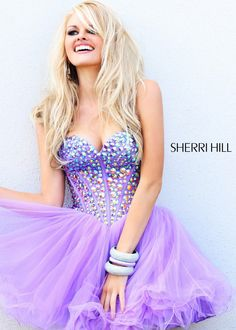 Lilac Short Prom Dress with a Jeweled Bodice and Sweetheart Neckline - Sherri Hill 21101 - ThePromDresses.com