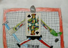 V ŘÍŠI HRACÍCH KARET | Výtvarná výchova - proměnit hrací karty vpostavy ztvárňující konkrétní povolání (kombinovaná technika)  #karty #alenka_v_risi_divu #pohadky #hraci_karty #kolaz #povolani #kombinovana_technika #vytvarna_vychova #kucharka #cards #alice_in_wonderland #playing_cards #fairy_tales #art_education #cook #profession #combined_technique #collage #kidsart #kidscrafts #hokej #hockey Kids Crafts, Collage, School, Wonderland, Alice, Collages, Collage Art, Baby Crafts, Colleges