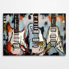 Guitar painting Music art Les Paul Guitar wall art , original guitar painting on canvas by Magda Magier