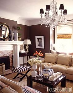 Chocolate walls with camel, white and black accessories.