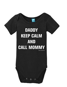 Daddy Keep Calm And Call Mommy Onesie Funny Bodysuit Baby Romper Black 3-6 Month, Infant Girl's