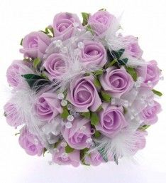 Bridesmaids Artificial Lilac Rose, Feather & Clear Crystal Wedding Posy Bouquet #maids