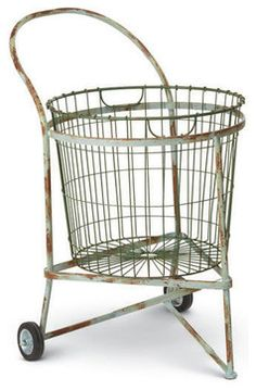 Antique Laundry Cart - industrial - Hampers - Dot & Bo