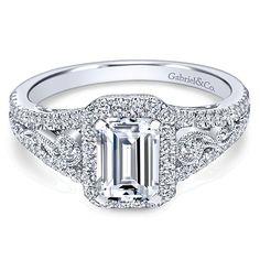 14k White Gold Diamond Emerald Cut Pave Halo Engagement Ring and Filgree Setting angle 1