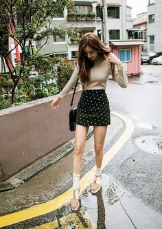 awesome korean fashion, simple look but I love these shoes and socks and how they match ... by www.redfashiontre... WOMEN'S ATHLETIC & FASHION SNEAKERS http://amzn.to/2kR9jl3