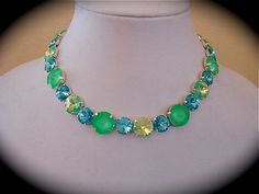 Lime green Tennis  Necklace Swarovski - not sabika  by TheCrystalRose, $140.00