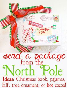 "Design Dazzle's cute mailing label placed on a package makes it look as if it has been sent from the North Pole/Santa Claus himself.  Place in the freezer for a bit of the ""North Pole"" effect. Some ideas to ""ship"": Christmas pajamas, an Elf on the Shelf, a special Christmas book, North Pole Snow, hot cocoa mix, or Christmas ornaments. How exciting to receive a special  gift that can be used BEFORE Christmas!  - Design Dazzle"