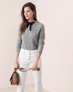A stylist walks into a room…wearing a sweater she DIY-ed with a grosgrain ribbon and instantly inspires our designers to create their own version. And that, friends, is the story of how the J.Crew women's Gayle sweater came to be.