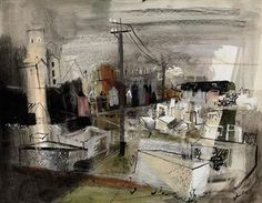 John Piper PORTLAND STONE, QUARRY PERSPECTIVE watercolour, bodycolour, black ink and coloured crayon