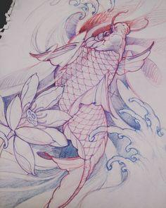 Saturday night koi drawing. #koi #drawing #sketch #asiantattoo #tattoo #chronicink