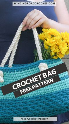 Crocheting Patterns, Easy Crochet Patterns, Crochet Stitches, Crochet Tote, Free Crochet, Thick Yarn, Winding Road, Day Bag, Fabric Crafts