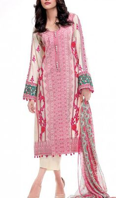 Buy Pink/Off-White Embroidered Cotton Lawn Dress by Rungrez Lawn Collection 2015.
