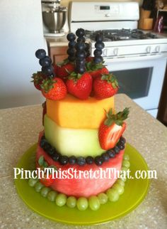 "A Healthier Cake - Birthday Fruit ""Cake"" - Pinch This Stretch That"
