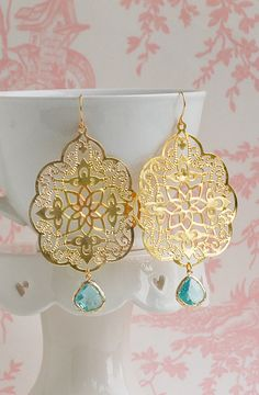 GOLD Lace & Aqua Blue Filigree Earrings by redtruckdesigns on Etsy